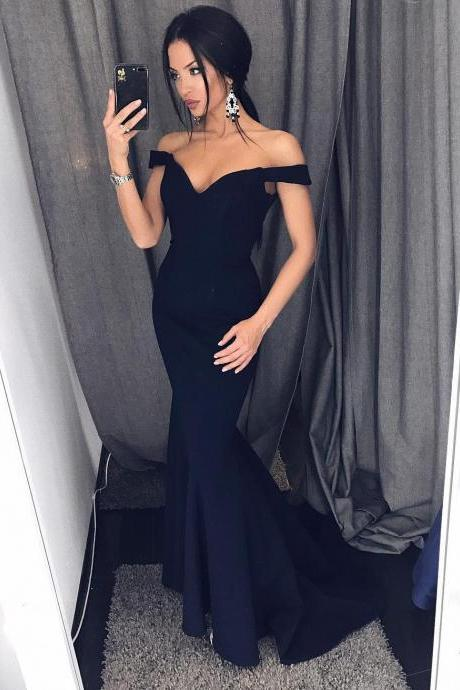 Trumpet Skirt Off-Shoulder Prom Dress, Sweetheart Satin Maxi Gown,Plus Size Navy Blue Mermaid Prom Dresses, Off Shoulder Wedding Party Gowns .Mermaid Bridesmaid Dresses, Wedding Girls Gowns .