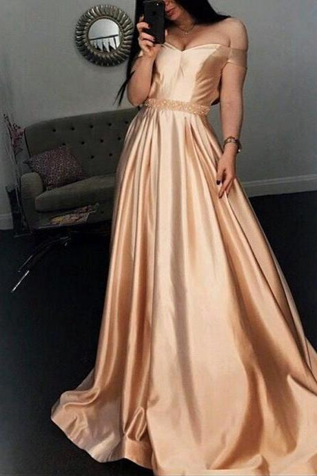 New Arrival Satin Prom Dresses 2018 Plus Size Women Party Gowns ,Wedding Formal Gowns ,Off Shoulder Girls Gowns ,Plus Size Wedding Party Gowns ,Prom Dress For Teens
