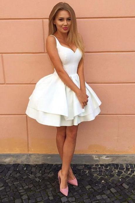 New Arrival White Pricess Prom Dresses , 2018 Plus Size Ball Gowns Party GOWNS .White Homecoming Dresses,Short Cocktail Gowns ,Mini Graduation Gowns .