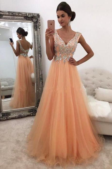 2018 Plus Size V-Neck Beaded Long Prom Dresses ,Off Shoulder Tulle Women Party Dresses,A line Evening Dresses, Wedding Party Gowns .Formal Evening Dresses .