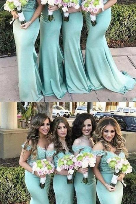 Mermaid Off-the-Shoulder Sweep Train Mint Green Bridesmaid Dress with Lace,New Arrival 2018 Wedding Brides Maid Dresses, Girls Party Gowns , Wedding Girls Gowns .