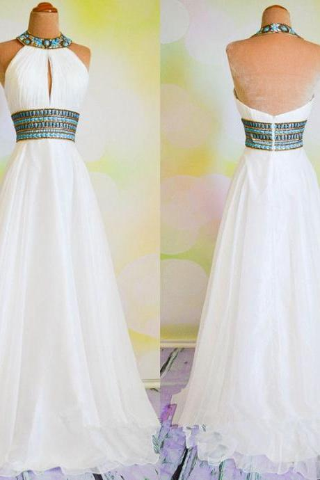 White Crystal Long Prom Dresses 2018 Halter Chiffon Women Party Gowns ,Girls Pageant Gowns ,Wedding Guest Gowns .High Quality Women Gowns ,A Line Women Gowns .