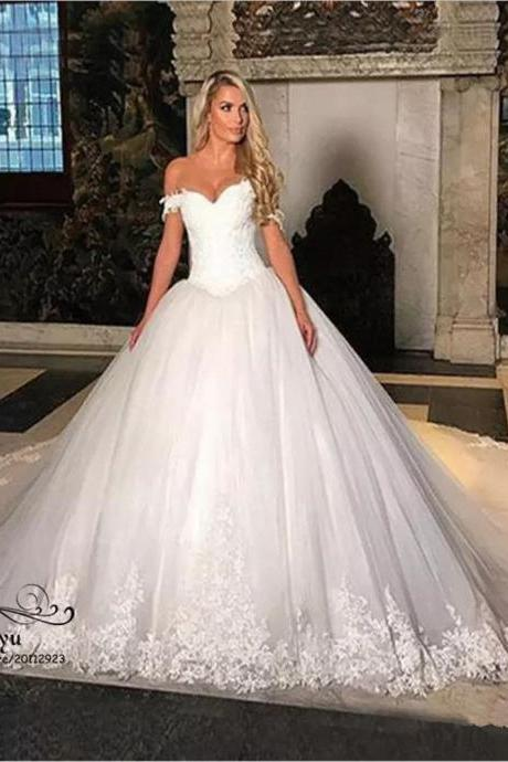 Gorgeous Cathedral Train Lace Tulle Wedding Dress Off Shoulder White Bridal Gown, White Pricess Wedding Dresses,Lace Appliqued Bridal Gowns .Women Pricess Bridal Gowns .
