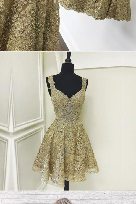 Cute gold lace v neck short prom dress, homecoming dress 2018 Plus Size Appliqued Mini Hmecoming Gowns ,Short Prom Gowns ,Mini Prom Gowns ,Plus Size Cocktail Dresses