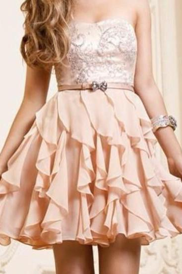 2018 New Short Pearl Pink A-line Scopp Neckline Mini Prom/Homecoming Dress,Plus Size Short Prom Dresses ,Skirts Tiers Party Gowns ,Wedding Guest Gowns ,Women Party Gowns .
