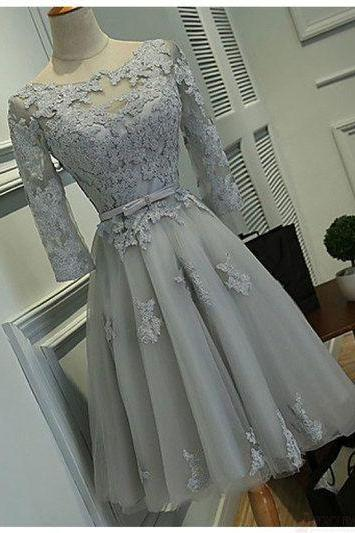 Gray Short Homecoming Dress with Full Sleeves,2018 Scoop Lace Prom Dress , Custom Made Party Gowns ,Women Cocktail Gowns ,A Line Cocktail Gowns,Short Party Gowns .