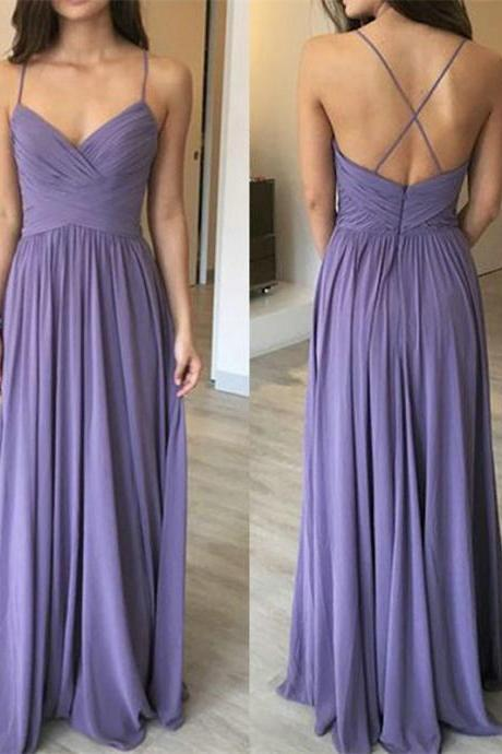 Pleated Long Chiffon Maxi Dress with Spaghetti Straps,2018 Plus Size Women Party Dresses,Spaghetti Straps Chiffon Evening Dresses,Wedding Women Gowns ,Girls Pageant Gowns .