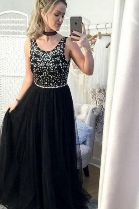Beading Prom Gown, Black Prom Gowns, Sleeveless Prom Dress,Chiffon Evening Gown, Sweetheart Prom Party Dress,Elegant Prom Gowns,Black Chiffon Evening Dresses, Women Pageant Gowns .