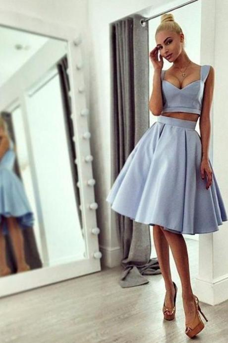 Straps Light Blue 2017 Cheap Homecoming Dress Knee Length Chic Prom Dress Homecoming Dresses,Short Graduation dress,Women pageant Gowns , Girs Wedding Gowns .