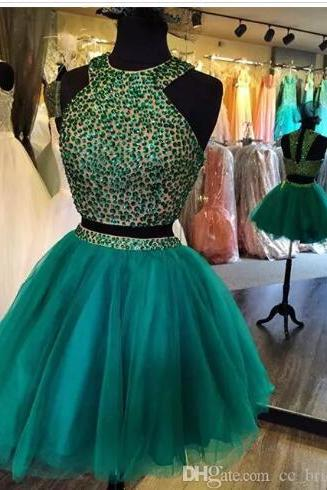 Modern Two Pieces Short Beaded Homecoming Dresses 2018 Sexy Knee Length Cocktail Party Prom Gowns Hot Cheap Sale Vestido Graduacion 2018,Green Short Cocktail Gowns .