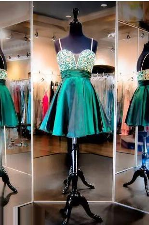 Spaghetti Straps Green Party Dresses A line Homecoming Dresses Beaded Sequins Satin Backless Short 8th Grade Graduation Dresses,Green Beaded Short Cocktail Dresses, Girls Party Gowns .