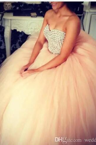 Ball Gowns Quinceanera Dresses For Sweet Sixteen Teenagers Young Girls Debutante Formal Dance Gowns Cheap Beaded Tulle Vestidos Prom Dresses,Plus Size Crystal Prom Dresses