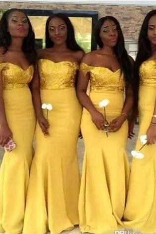 Elegant 2018 Yellow Long Bridesmaid Dresses Off Shoulder Satin Floor Length Modest Formal Prom Gowns Mermaid Maid Of Honor Bridesmaid Gowns,Brides Maid Dresses, Wedidng Women Gowns .
