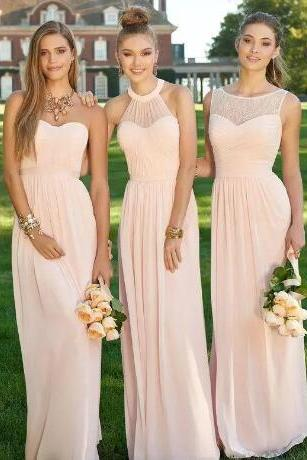 Blush Pink Cheap Long Chiffon Bridesmaid Dresses 2018 Mixed Neckline Navy Royal Blue Formal Lace Backless Prom Party Dresses with Ruffles,Wedding Party Gowns ,Wedding Brides Maids Dresses,Long Prom Gowns