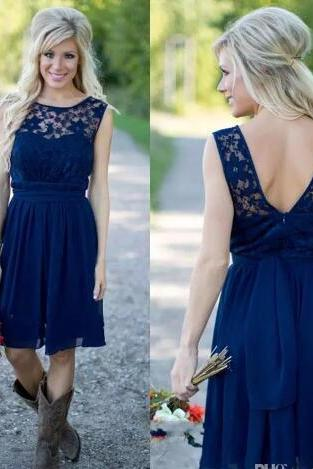2018 Country Style Royal Blue Short Bridesmaid Dresses Cheap Jewel Neck Lace Bodice Backless Ruched Maid of the Honor Dresses with Belt,Wedding Party Gowns ,Girls Pageant Gowns .