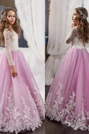 0cdbdc12006 Lovely Lace Flower Girls Dresses For Weddings Pink Long Sleeves A Line Long  Pageant Dresses for