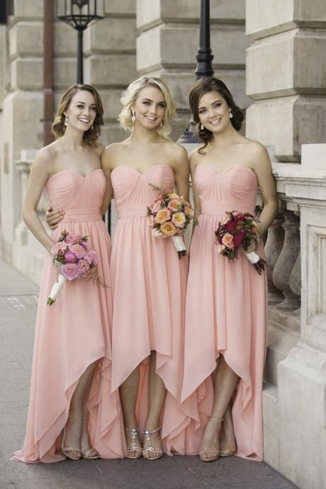 A-Line Sweetheart Pink Chiffon Long Bridesmaid Dress With Pleats,2018 New Arrival Short Prom Dress Long Bridesmaids Dresses , Off Shoulder Women Party Gowns ,Party Gowns .