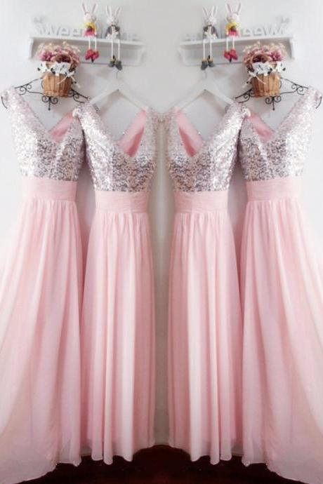 Glitter Sequins V Neck Long Chiffon Pink Bridesmaid Dresses,Bridesmaid Dress,Real Photo Dress,2018 Sexy V-Neck Sequned Women Party Gowns ,Brides Maid Gowns .Women Gowns .