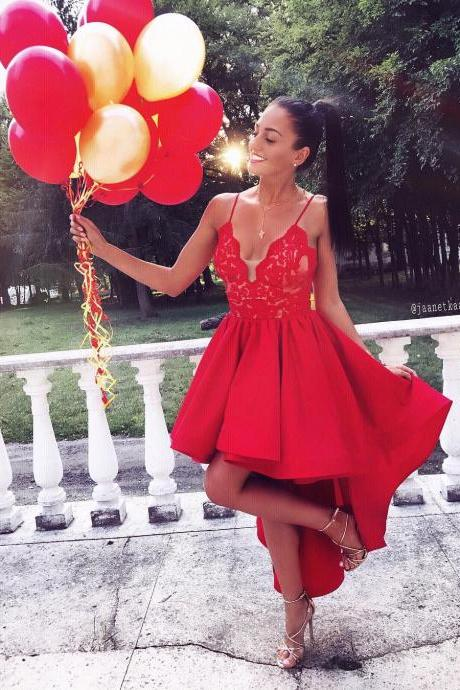 High Low Spaghetti Straps Homecoming Dresses,Red V-neck Lace Graduation Dresses,2018 Red Lace Short Cocktail Gowns ,Wedding Party Gowns ,High Low Prom Dresses