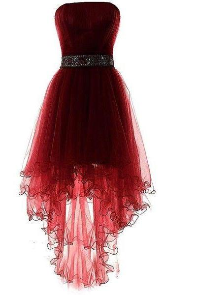Dark Wine Red Tulle Sleeveless Homecoming Dresses, Asymmetry Prom Dresses, High Low Beaded Formal Dresses,2018 High Low Prom Dresses, Beaded Cocktail Gowns .Off Shoulder Party Gowns .