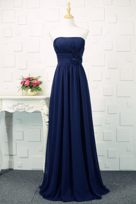 Navy Blue Floor Length Bridesmaid Dresses, Simple Bridesmaid Dress 2018, Blue Formal Dresses,Plus Size Chiffon Long Party Dress,Women Party Gowns ,Girls Party Gowns