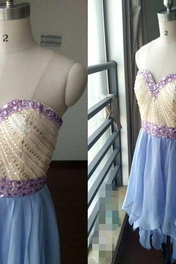 High Low Chiffon and Beaded Homecoming Dresses, High Low Prom Dress,Charming Prom Dress,2018 New Arrival Chiffon Long Prom Gowns ,Wedding Party Gowns .Crystal Cocktail Dress