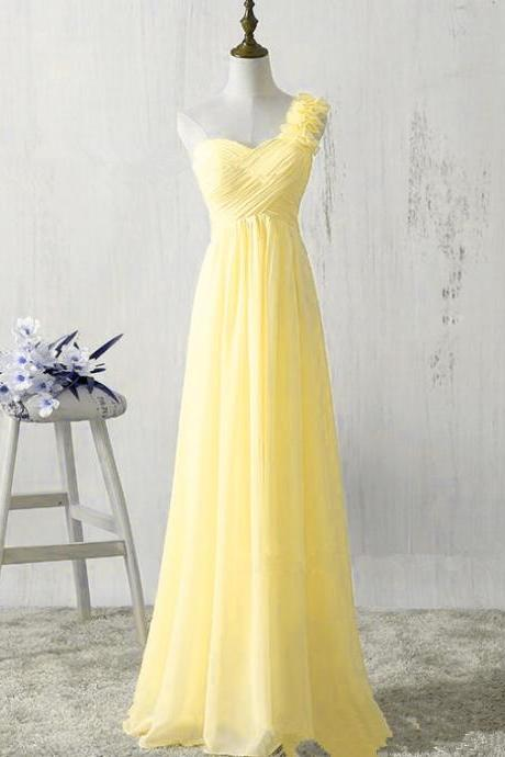 One Shoulder Yellow Chiffon Bridesmaid Dresses, A-line Party Long Evening Dresses, Light Yellow Bridesmaid Dresses,Plus Size Yellow Chiffon Bridesmaid Gowns