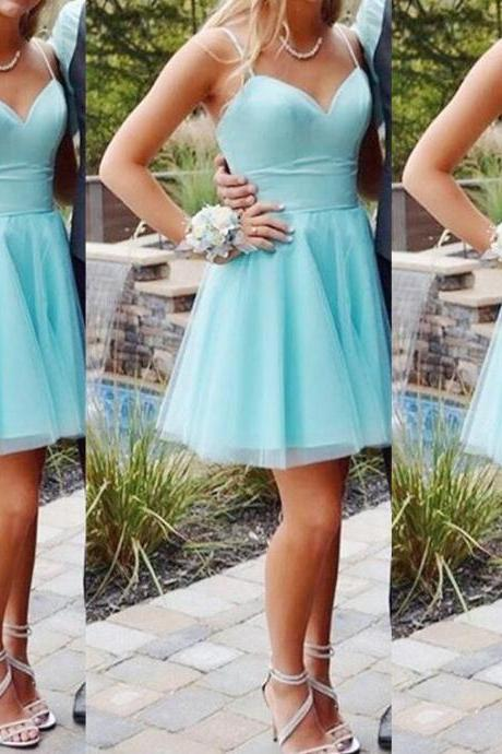 Mint Blue Straps Mini/Short Sweetheart Homecoming Dresses, Cute Short Prom Dresses, Lovely Teen Fashion Dresses,Plus Size Women Gowns .Short Cocktail Dresses.