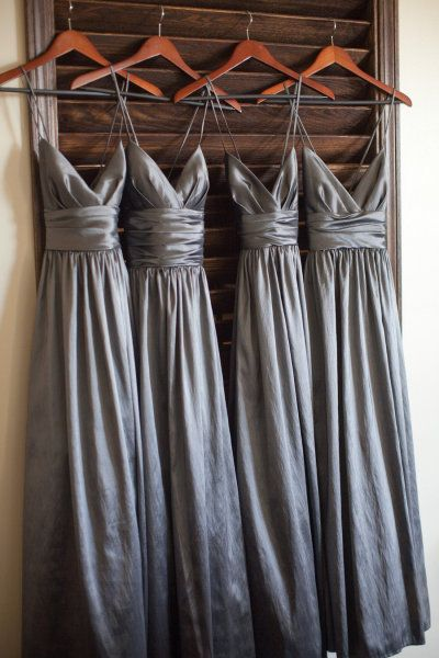 2018 Plus Size Gray Satin Long Bridesmaid Dresses A Line Ruffle Women Party Gowns ,Wedding Brides Maid Gowns ,Sexy V Neck Party Gowns .Women Party Gowns ,