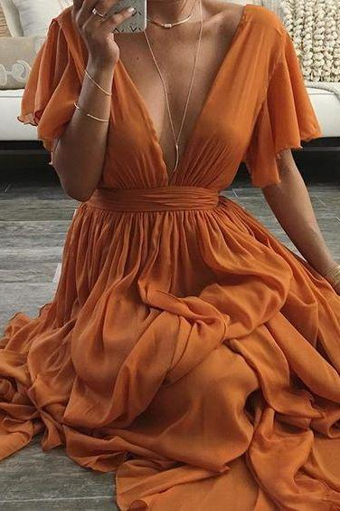 Cap Sleeves V Neck Floor Length Chiffon Dress 2018 New Arrival Sexy V Neck Formal Prom Dresses, Women Party Gowns ,Lovely Women Party Gowns ,Formal Evening Gowns ,Plus Size Wedding Party Gowns