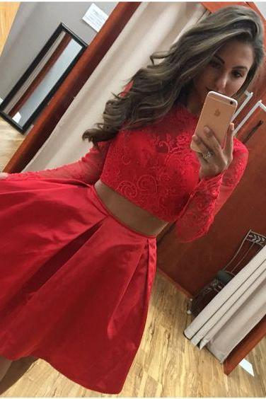 Two Piece Long Sleeves Short Red Lace Satin Homecoming Dress Girls Graduation Party Gowns,2 Pieces Cocktail Gowns ,Wedding Party Gowns , Short Prom Gowns