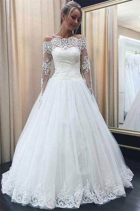 Off the Shoulder Long Sleeves Lace Appliqued Wedding Dresses,2018Full Long Lace Sleeve Lace Muslim Wedding Dress,Plus Size Women Party Gowns ,China Wedding Gowns ,