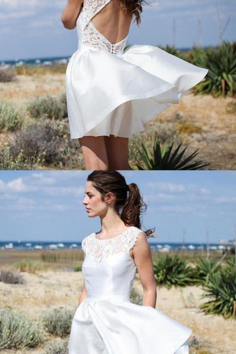 A-Line Bateau Open Back Short Ivory Satin Hall Wedding Dress with Lace,White Lace Short Wedding dress,Bridal Gowns ,Women Party Gowns ,Beach Wedding Gowns