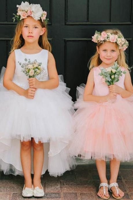 Round Neckline Hi-line Tulle Pixie Tutu Dresses, Cheap Flower Girl Dresses,High Low Tulle Wedding Flower Girls Dresses, Beauty Flower Girls Gowns ,Plus Size Children Gowns .