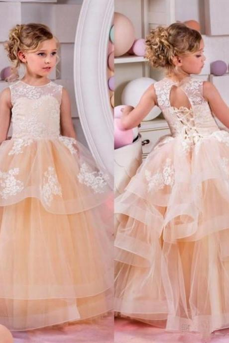 Flower Girl Dress Kids Pageant Bridesmaid Formal Wedding Prom Ball Gown Flower Girl Dresses ,2018 Champagne Tulle Wedding Kids Gowns .Beauty Little Girls Pageant Gowns