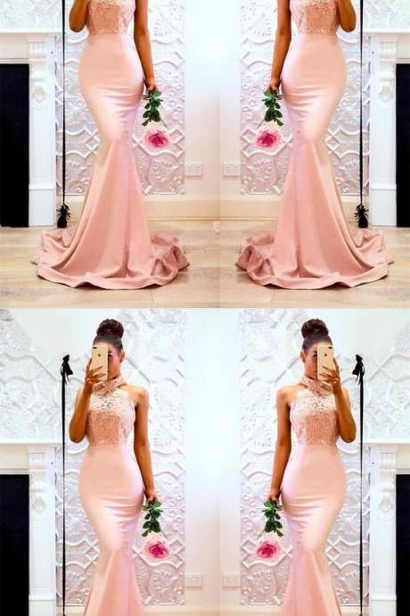 Sexy Sleeveless Pink Mermaid Evening Dress, Appliques Lace Long Prom Dresses,Vintage Prom Dresses, Cheap Lace Evening Dresses, Plus Size Wedding Party Gowns .