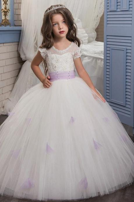 New Arrial Lace Tulle Wedding Flower Girls Dresses, Pricess Flower Girls Gowns .A Line Girls Gowns .Hand Made Flower Girls Gowns Pricess Girls Gowns .,A Line Party Gowns ,Women Party Gowns .