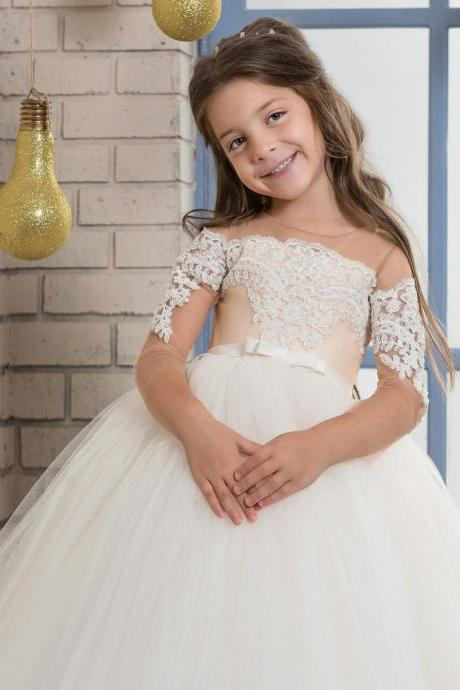 Cute Baby Girl Birthday Wedding Party Formal Flower Girls Dress baby Pageant dresses,2018 Wedding Flower Girls Dresses, Girls Gowns Short, Children Girls Gowns .