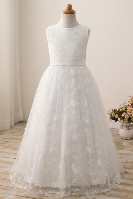 Lace Wedding Flower Girls Dresses, Pricess Flower Girls Gowns .A Line Girls Gowns .Hand Made Flower Girls Gowns Pricess Girls Gowns ., Cheap Wedding Flower Girls Gowns ,A Line Party Gowns ,A lINE women gowns