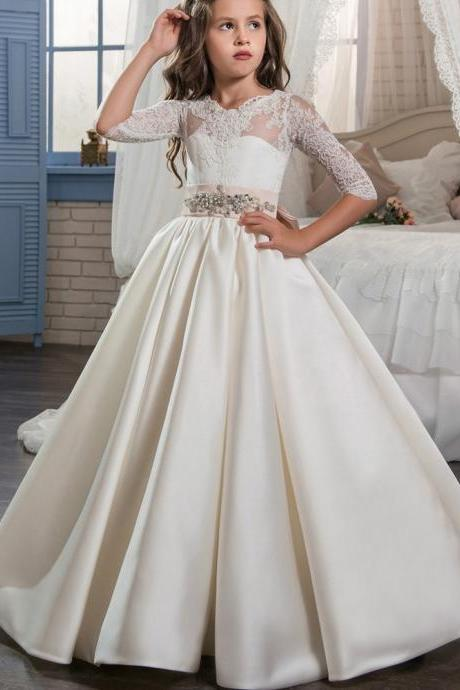 Half Sleeve Lace Wedding Flower Girls Dresses, Pricess Flower Girls Gowns .A Line Girls Gowns .Hand Made Flower Girls Gowns Pricess Girls Gowns ., Cheap Wedding Flower Girls Gowns ,A Line Party Gowns ,tulle women gowns