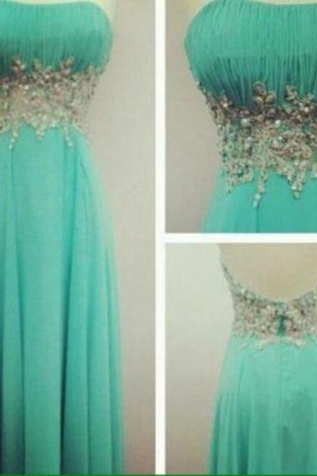 Charming Prom Dress Strapless Prom Dress Chiffon Prom Dress Beading Dress A-Line Evening Dress,Mint Green Chiffon Long Party Gowns ,Sexy Women Gowns .