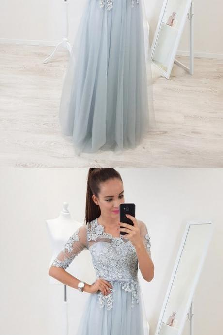 A-Line Scoop Half Sleeves Floor-Length Light Blue Prom Dress with Appliques,2018 Plus Size Half Sleeve Lace Evening Dresses, Women Guest Gowns , Plus Size Formal Party Gowns .
