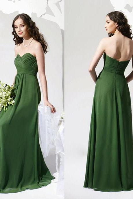 Charming Prom Dress,Sweetheart Prom Dress,A-Line Prom Dress,Chiffon Prom Dress,Poplin Prom Dress,2018 Floor Length Green Chiffon Party Gowns ,Custom Made Women Gowns ,Bridesmaid Dresses