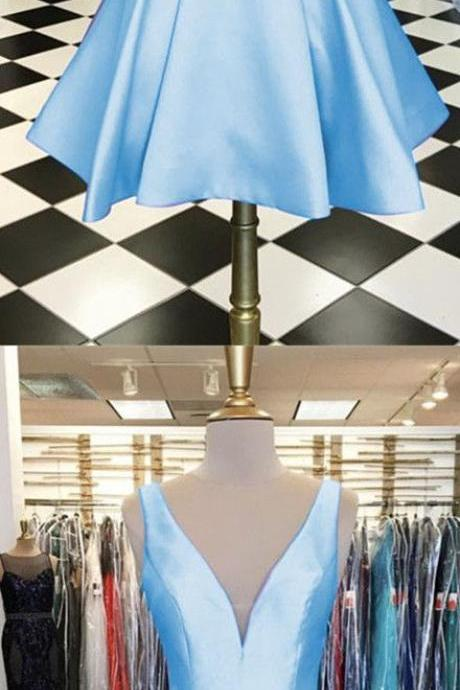 A-line V-neck Satin Homecoming Dresses Short Prom Gowns 2018,Sky Blue Satin Mini Homecoming Dresses,Custom Made Party Gowns .Girls Gowns Short