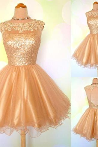 Gold homecoming dress, sequin homecoming dress, open back homecoming dress, scoop neck homecoming dress, cheap homecoming dress,,2018 Sexy Backless Mini Party Gowns , Girls Dresses .