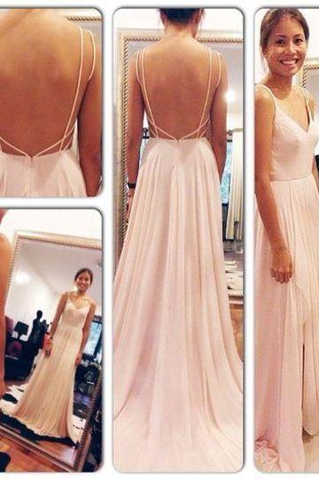 New Arrival Chiffon Long Prom Dresses 2018 Sexy Spaghetti Straps Chiffon Sexy Long Prom Gowns ,Wedding Party Gowns ,Formal Evening Dresses, Women Party Gowns .
