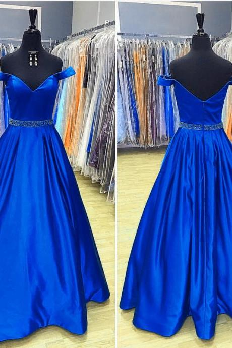 Royal Blue Prom Dresses,Long Satin Evening Gowns,V Neck Prom Dress,Sexy Off Shoulder Formal Dresses,Sexy Beaded Women Party Gowns ,Plus Size Wedding Party Gowns .