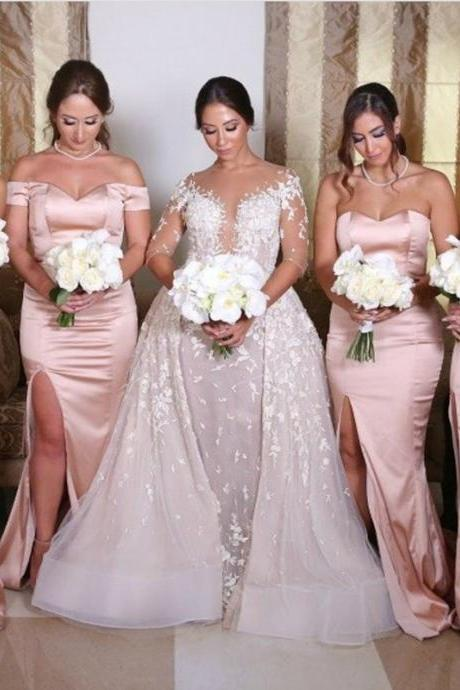 pink bridesmaid dress,satin bridesmaid dress,mermaid evening dress,long formal dresses,New Arrival High Slit Long Brides Maid Dress, Plus Size Girls Gowns ,Party Gowns Long