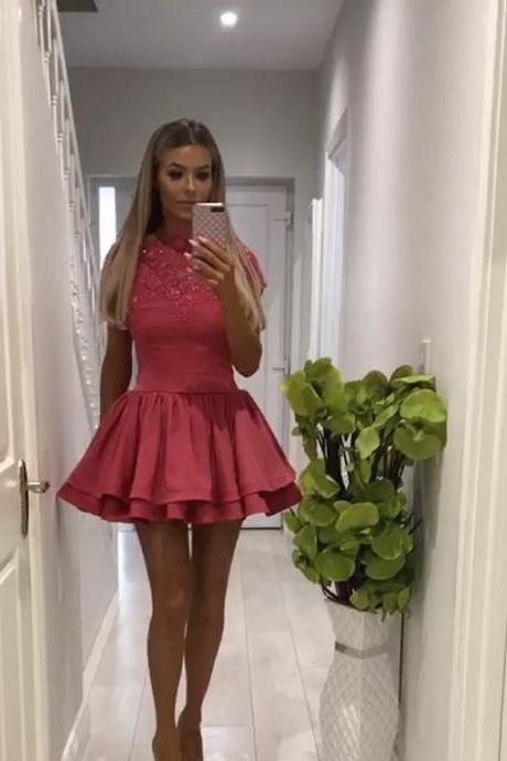 rose pink homecoming dress,ruffle homecoming dress,cap sleeves prom dress,short prom dresses,Plus Size Beaded Mini Homecoming Dresses, Short Cocktail Gowns ,High Neck Short Graduation Gowns .