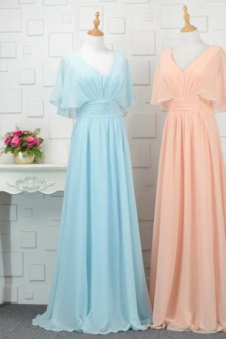 modest bridesmaid dresses with sleeves,chiffon bridesmaid dress,floor length evening gowns,Simple Chiffon Bridesmaids Dresses,Sky Blue Chiffon Party Gowns , Wedding Guest Gowns .